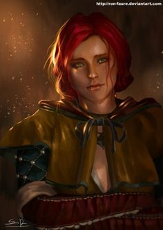 I have recently started playing The Witcher 3 and it's sooooooo amazing! To be honest, about Triss, I prefer the costume in The Witcher Anyway I like hers impressive eyes and red hair. The Witcher Game, The Witcher Geralt, Witcher Art, Witcher 3 Wild Hunt, Ciri, Triss Merigold Witcher 3, Character Inspiration, Character Art, Character Design