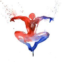 水彩画の「にじみ」や「はね」を使って描かれたスーパーヒーロー達