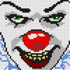 Pennywise The Clown From It Square Perler Bead Pattern / Bead Sprite