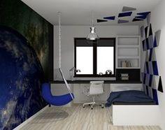 pokoiki DZIECIĘCE - Mały pokój dziecka dla chłopca dla ucznia dla nastolatka, styl nowoczesny - zdjęcie od Piwońska&Serwa