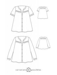 patron de couture Dessins techniques Envol, 2 variations possibles