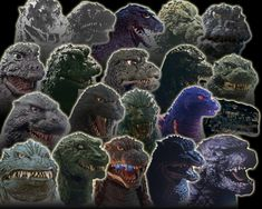 The faces of Godzilla.I loved watching the old godzilla movies when I was younger. King Kong, Japanese Monster, Sci Fi Horror, Horror Films, Classic Monsters, T Rex, Anime Manga, Science Fiction, Beast