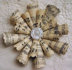 Sheet music ornaments for a Christmas tree with vintage style.
