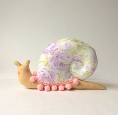 Snail toy plush snail doll. Lavender and pink by CherryGardenDolls