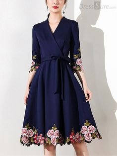 Vintage V-Neck Half Sleeve Embroidered Skater Dress Work outfits for dresses casual outfits classy fashions lovely 2019 fall dress outfits Modest Dresses, Simple Dresses, Cute Dresses, Beautiful Dresses, Casual Dresses, Short Dresses, Skater Dresses, Casual Outfits, Vestidos Vintage