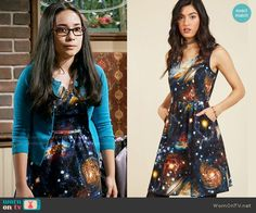 Smackle's galaxy print dress on Girl Meets World Basic Outfits, Matching Outfits, Cool Outfits, Fashion Outfits, Matching Clothes, Gothic Fashion, Fashion Ideas, Austin And Ally, Black Milk Clothing