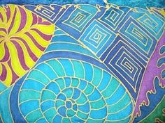 """Play time with more Zentangles.  I'll try to get a full photo of this scarf.  These are close ups of the 12"""" x 60"""" silk. Sold!"""