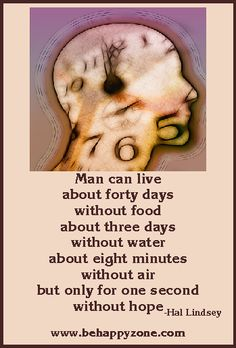 Man can live about forty days without food, about three days without water, about eight minutes without air, but only for one second without hope. - Hal Lindsey quote.