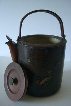 Copper mizutsugi tea kettle, antique Japanese, pre-Taisho period, stamped