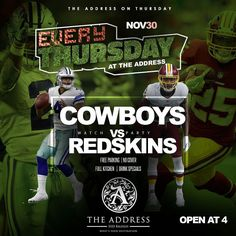 TONIGHT @theaddresshtx Cowboys -VS- Redskins TNF AND THE NFL PRE WEEKEND DESTINATION HAPPY HOUR   SPECIALS FROM 4-8pm  Wonderful Food   Great Vibes#thursday#thursdaynightfootball#happyhour#cocktails#sports#music#food#fun#theaddress#goodvibes#bartender#waitress#cowboys#sports#redskins