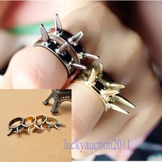 Hot Fashion Punk Vintage Rivet Ring Stud Spike Rivet Finger Rings Lady Girl Gift