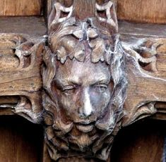 A cobweb-strewn Green Man in Holy Trinity Church, Embleton, Northumberland, England (photo Tina Negus)