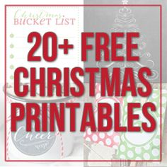 More than 20 AWESOME FREE PRINTABLES for Christmas! Gift tags, chalkboards and more!!