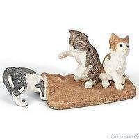 schleich spelende katjes met deken
