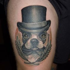 Fancy Boston Terrier tattoo by Craig Foster at Skinwerks Tattoo in Carrollton, GA