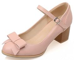 IDIFU Womens Sweet Bow Chunky Kitten Heels Pumps Ankle Strap Buckle Work Shoes Pink 105 BM US * Find similar products by clicking the VISIT button