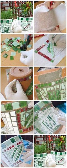 Decorate the flower pot mosaic