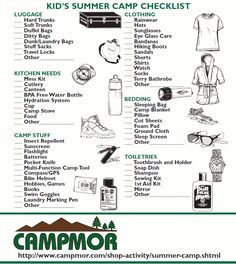 Free Printable Summer Camp Checklists Blank Amp Suggested