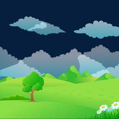 Vector cartoon landscape, Tree, Meadow, Flowers PNG and Vector