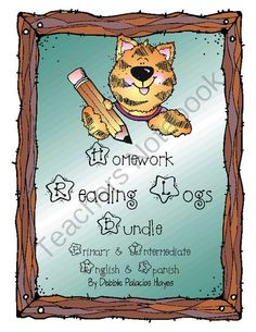 Homework Reading Logs BUNDLE (Primary & Intermediate) in English & Spanish from Debbie Palacios Hayes on TeachersNotebook.com (6 pages)  - This is a great way to track students' nightly reading! Bundle includes primary and intermediate versions of the reading logs.