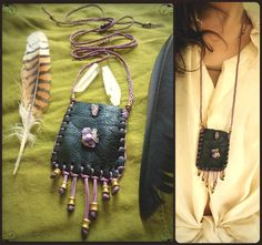 Amethyst Medicine Pouch - Leather Pouch - Medicine Bag - Recycled Leather - Native Adornment - Gemstones & Brass