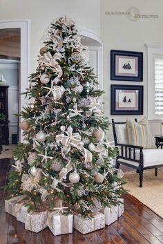 "Beach Christmas tree // ""An Elegant Christmas by the Seaside"" White Christmas Tree Decorations, Elegant Christmas Trees, Coastal Christmas Decor, Christmas Tree Design, Nautical Christmas, Noel Christmas, Xmas Trees, Beach Christmas Trees, Christmas Lights"