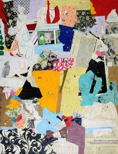 """Title: Back in Business #041302 Size: 24"""" x 18"""" x .125"""" Medium: Collage on canvas board This listing is for the original abstract art paper collage on canvas board. It is unframed. Artist signed. My a"""