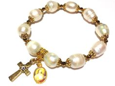 Rosary Style Bracelet Large White/Ivory Fresh by OdemiDesigns