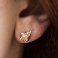 Rose Gold Grecian Leaf Stud Earrings  Real Leaf by AnuevaJewelry