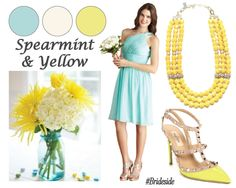 Spearmint & Yellow color inspiration for spring! See more color inspiration at Brideside.com  #green #mint #yellow #bridesmaids #wedding #brideside Yellow Bridesmaid Dresses, Wedding Stuff, Wedding Ideas, Cruise Wedding, Strapless Dress Formal, Formal Dresses, Color Palate, Color Inspiration, Wedding Colors