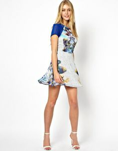 Enlarge Love Skater Dress In Digital Mirror Print