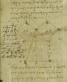 "Image of the first (geometric) demonstration of the pythagorean theorem, in Euclid's ""Elements"" (Book I, Proposition 47), written about 300 B.C.  Source: Vatican Library, http://www.ibiblio.org/expo/vatican.exhibit/exhibit/d-mathematics/imag es/math01.jpg"