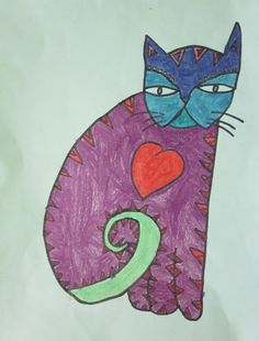 Spot of Color: 3rd Grade Laurel Burch Cats