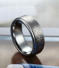 Brushed and Polished Celtic Cross Tungsten Ring | Tungsten Carbide Rings 24HOUR SHIPPING