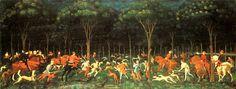 A Caça na Floresta (também conhecida como Caçada Noturna ou simplesmente A Caça) é uma pintura do artista italiano Paolo Uccello, feita por volta de 1470.   É talvez a pintura mais conhecida no Museu Ashmolean, em Oxford, Inglaterra.   A pintura é um dos primeiros exemplos do uso eficaz da perspectiva na arte renascentista, com os participantes caça, incluindo pessoas, cavalos, cães e cervos, desaparecendo na floresta escura na distância. Foi a última pintura conhecida de Uccello antes de…