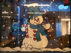 Window painting of snowman