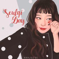 Red Velvet - Seulgi Kang Seulgi, Red Velvet Seulgi, Kpop Fanart, Happy Birthday, Art Deco, Coral, Feminine, Fan Art
