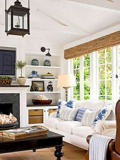 Beautiful bookcases and living room decor