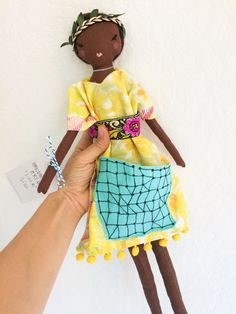 Lola - a one of a kind handmade art doll, chocolate brown skin, unique style a boho queen