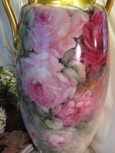 "Gorgeous Large 18"" Antique Austria Floor Vase ~ Breathtaking Hand from oldbeginningsantiques on Ruby Lane"