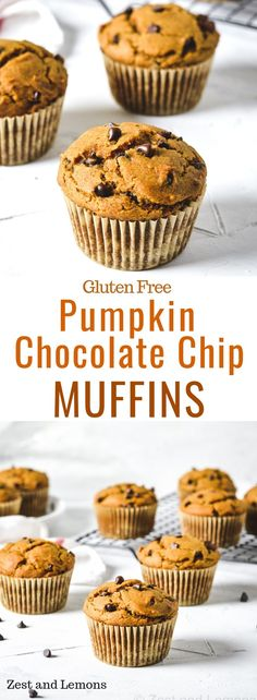 These muffins are thick, yet very mo… Gluten free pumpkin chocolate chip muffins. These muffins are thick, yet very moist and fluffy and are loaded with mini chocolate chips – Zest and Lemons Gluten Free Sweets, Gluten Free Baking, Gluten Free Recipes, Gluten Free Cupcakes, Köstliche Desserts, Delicious Desserts, Dessert Recipes, Diabetic Desserts, Easter Recipes