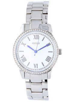Price:$116.28 #watches Guess W12112L1, Stainless steel case, Stainless steel bracelet, White dial, Quartz movement, Scratch-resistant mineral, Water resistant up to 5 ATM - 50 meters - 165 feet Stainless Steel Bracelet, Stainless Steel Case, Mineral Water, Michael Kors Watch, Minerals, Quartz, Watches, Bracelets, Accessories