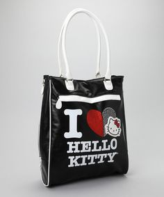 Take a look at this Black I Love Hello Kitty Tote by Hello Kitty on #zulily today!
