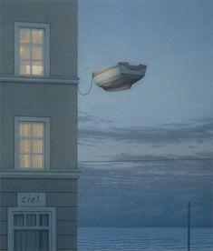 Title: Window at Night Artist: Quint Buchholz. Has a Magritte feel. City Poster, Art Magique, Es Der Clown, Magic Realism, Magritte, Surreal Art, Love Art, Fantasy Art, Contemporary Art