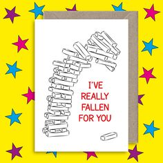 Funny Anniversary Card Cute Valentines Ive Really Fallen For You Jenga Flirty Boyfriend Girlfriend Friendship