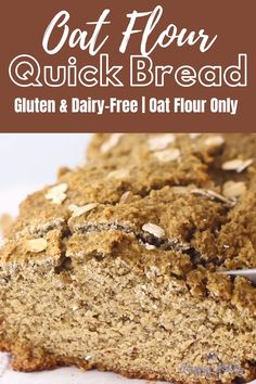 This gluten-free oat flour bread is made with just a few simple ingredients! No refined flour (oat flour only), refined sugar, butter, or dairy! How should you know what's new on the list? Oat Flour Recipes, Healthy Bread Recipes, Healthy Baking, Baking Recipes, Healthy Snacks, Flax Seed Recipes, Dinner Healthy, Gluten Free Dairy Free Bread Recipe, Gluten Free Oats