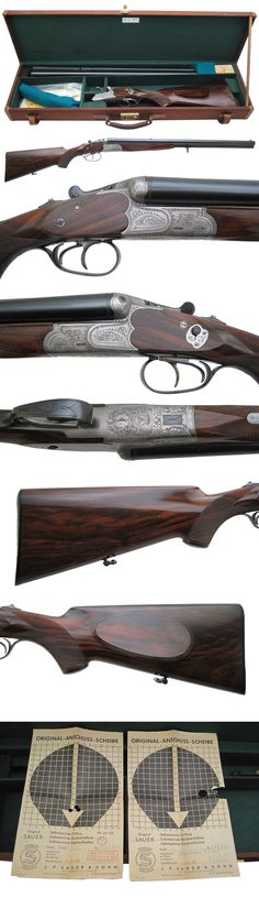 Griffin & Howe Other Gun Search Page  Sauer - Drilling - 16 ga. - $8,500.00   This is a 3-barreled gem, known as a drilling. This particular example has twin (S/S) 16-ga bores superposed over a rifle caliber barrel chambered for the 8x57 German Mauser round.  An interesting twist (no pun intended) on this piece is that one of the two 16-ga bores is RIFLED to accept slugs! This weapon could virtually fill any sportsman's plate with grouse, antelope and/or a moose!