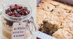Rezept für eine selbstgemachte Kuchen-Backmischung im Glas. Der Mix für Kokos-Kirsch-Kuchen ist ein tolles Geschenk aus der Küche.