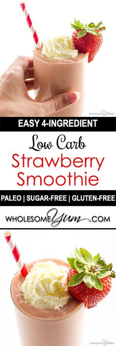 Strawberry Avocado Keto Smoothie Recipe with Almond Milk – The best strawberry avocado smoothie recipe needs just 4 INGREDIENTS! You're going to love this paleo keto smoothie with almond milk. And, it's ready in a just a few minutes. Strawberry Avocado Smoothie, Smoothie Fruit, Keto Breakfast Smoothie, Keto Smoothie Recipes, Low Carb Smoothies, Breakfast Recipes, Breakfast Ideas, Ketogenic Breakfast, Strawberry Banana