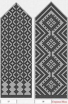 Схемы для варежек. Жаккард. Crochet Mittens Free Pattern, Knit Mittens, Crochet Chart, Filet Crochet, Mitten Gloves, Knitting Socks, Hand Knitting, Knit Crochet, Knitting Charts
